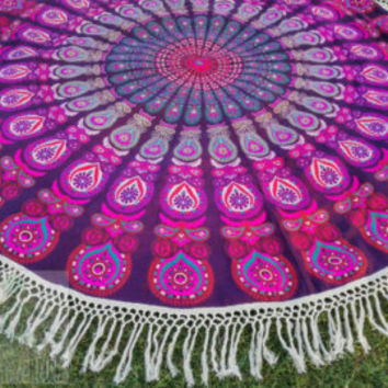 Round mandala tapestry Beach throw, roundies mandala, yoga mat, wall tapestry, round mandala, fringed, boho beach hippie ethnic style India