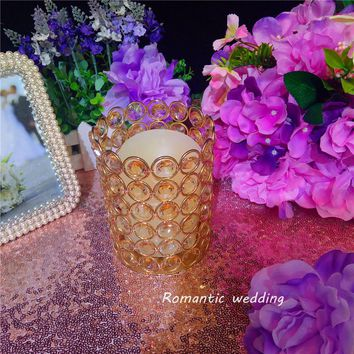 Free shipment Gorgeous K9 Crystal Bead Metal Gold Short Candle Holder Discounted Now for Wedding party event home decoration