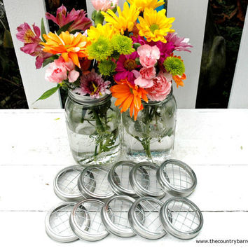 Mason Jar Flower Frog LIDS  Set of 12  by TheCountryBarrel on Etsy