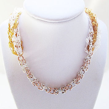 Ladder Yarn Necklace Trellis Yarn Necklace With Chainmaille, Ribbon Yarn Necklace, Gold And White