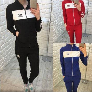 Adidas Fashion Letters print hedging long sleeve pants two piece sweatpants