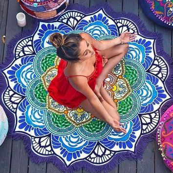Round Beach Towel Toalla Mandala 150cm Thin Yoga Mat Women Cover Up Cotton floral Blue Woman Beachwear Tassels Woman Coverup