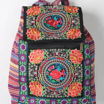 Colorful Embroidered Floral Striped Backpack
