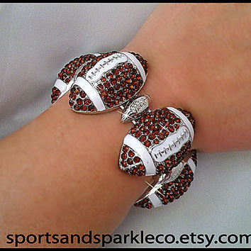 Rhinestone Bling Football Sports Stretch Bracelet