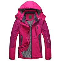 Spring Autumn Winter Women Jacket Single thick outwear Jackets Hooded Wind waterproof Coat parkas Clothing