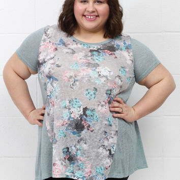 Curvy: Washed Out Floral Knit Top {Dusty Blue}