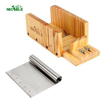 Nicole Soap Cutting Tools Set 2 Adjustable Wood Loaf Cutter Box & Metal cutting blade Soap Making Supplies