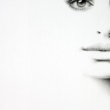 Anne Hathaway Minimalism Half Series Original Pencil Drawing Fine Art Portrait