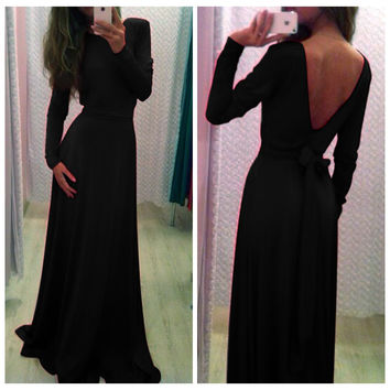 Black Long Sleeve V Shape Back Bodycon Maxi Dres