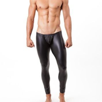 Sexy Underwear Men Long Johns Slim Black Faux Leather Underpants Male U Convex Pouch Mid-waist Long John pantalon termico S-XL