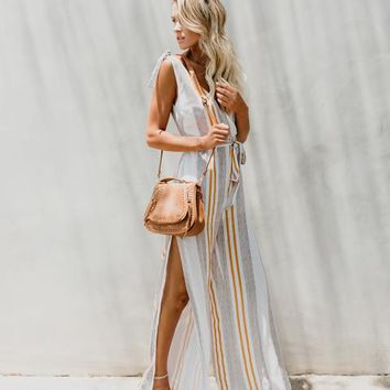 Be A Lion Striped Tie Jumpsuit