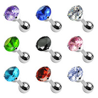16g Cartilage Earring Stud Body Jewelry Piercing with Cubic Zirconia Gem