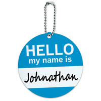 Johnathan Hello My Name Is Round ID Card Luggage Tag