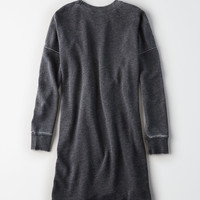 AE Zipper-Shoulder Sweatshirt Dress, True Black
