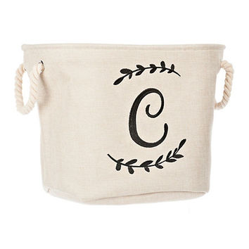 Cream Branch Monogram C Storage Bin