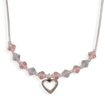 "13"" + 2"" Extension Crystal and Liquid Silver Necklace with Open Heart Drop"
