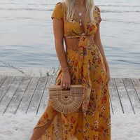 Wait A Minute Mustard Floral Two Piece Set