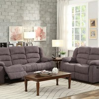2 pc Greenville collection grey velvet fabric upholstered sofa and love seat with recliner ends