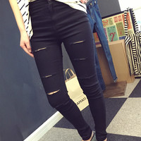 Stretchable Tattered Pants