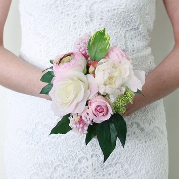 "Peony and Rose Wedding Silk Bouquet in Pink and Cream - 11"" Tall"