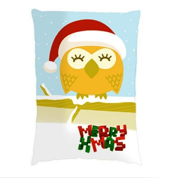 Christmas Owl Pillow Case Pillow Case. Choose the option for size
