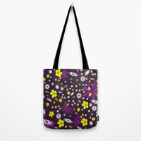 Purple Floral Flower Design Tote Bag by WonderfulDreamPicture
