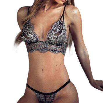 Transparent Lace Embroidery Sexy Lingerie Push Up Bra Panties Set Bralette Suit Babydoll Women Underwear Thongs Brief Bikini