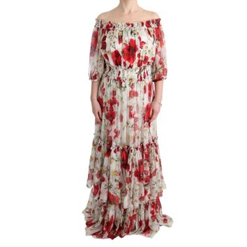 Dolce & Gabbana Multicolor Silk Floral Shift Long Maxi Dress