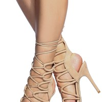 Nude Faux Suede Cut Out Lace Up Single Sole Heels @ Cicihot Heel Shoes online store sales:Stiletto Heel Shoes,High Heel Pumps,Womens High Heel Shoes,Prom Shoes,Summer Shoes,Spring Shoes,Spool Heel,Womens Dress Shoes