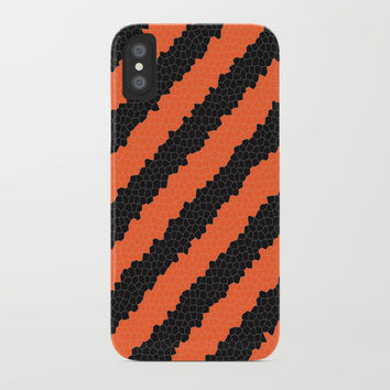 Black and Orange stripes iPhone Case by Knm Designs