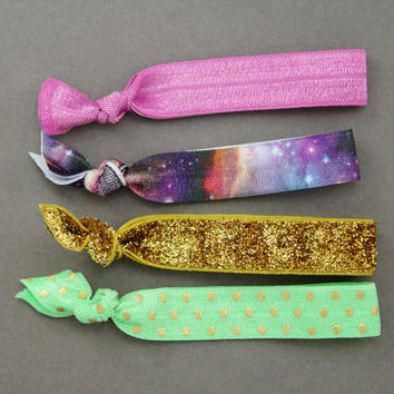 Elastic Hair Ties : Set of 4 Elastic Ribbon Hair Ties, Ponytail, Top Knot, Galaxy, Tie Dye, Glitter, Teal, Pink, Silver, Space, Dots