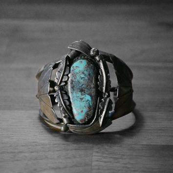 Large Blue Turquoise Cuff Bracelet, Vintage Native American Sterling Silver and Blue Turquoise Cuff Bracelet, High Quality Jewelry
