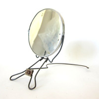 silver folding vintage hands free neck mirror / perfect for hanging on the wall / shaving mirror