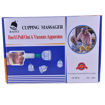 24PCS Thickened Massage Cupping Chinese Vacuum Massage Cupping Sets Therapy Suction cup Anti-cellulite Sucker Osculum Kit