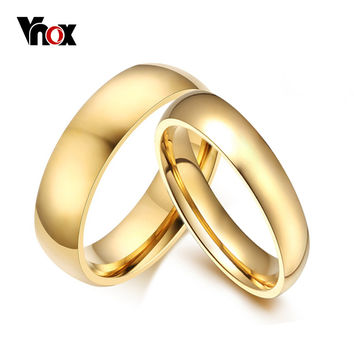 Vnox Simple Wedding Bands Rings Gold Plated Engagement For Women Men USA Size Free Shipping