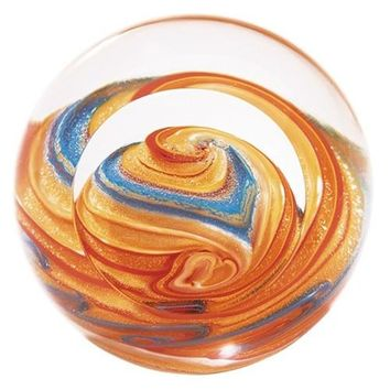Jupiter Sagittarius Planet Hand Blown Glass Paperweight 3H