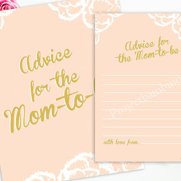 pink and gold advice for the mom to be baby shower with sign baby shower advice for the mom-to-be digital printable instant download