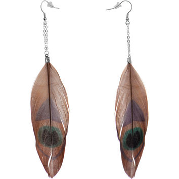 Brown Green Peacock Feather Earrings