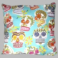 Day of the Dead Pillow Sugar Skulls Handmade Alexander Henry Fabric | AllegraB - Housewares on ArtFire