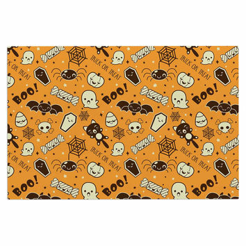 "KESS Original ""All Cute Halloween"" Orange Pattern Decorative Door Mat"
