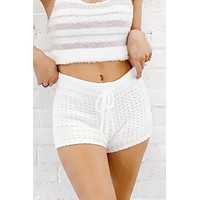Knit And Chill White Lounge Shorts