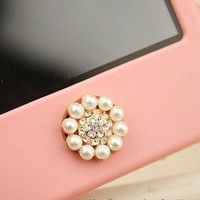 Bling Crystal Circle Pearl iPhone Home Button Sticker for iPhone 4,4s,