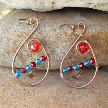 Fashion  earrings  FREE SHIPPING WORLDWIDE Copper beads Jewelry Hammered Wire Wrapped bead antique vintage handmade steampunk bohemian boho