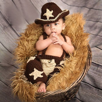 Newborn Infant Brown Cowboy star Hat Pants Diaper Set Boy set Baby Handmade Knit Crochet Baby photo props Outfit Costume (Size: 0-6m) = 1958179844