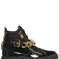 Indie Designs Patent Leather & Velvet Chain Strap Sneakers