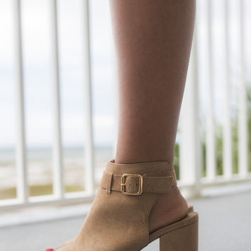 The High Road Camel Open Toe Bootie