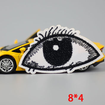 HOT sale 1PC fashion eye Iron On Embroidered Patch For Cloth Cartoon Badge patch Garment Appliques DIY Accessory