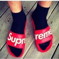 SUPREME NEW MEN AND WOMEN SANDALS SLIPPERS SHOES