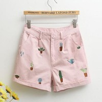 Cactus Embroidery Shorts