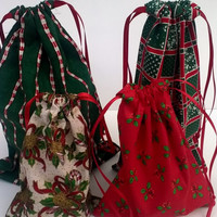 4  Christmas Gift Bags Assorted Upcycled Fabric, Reusable